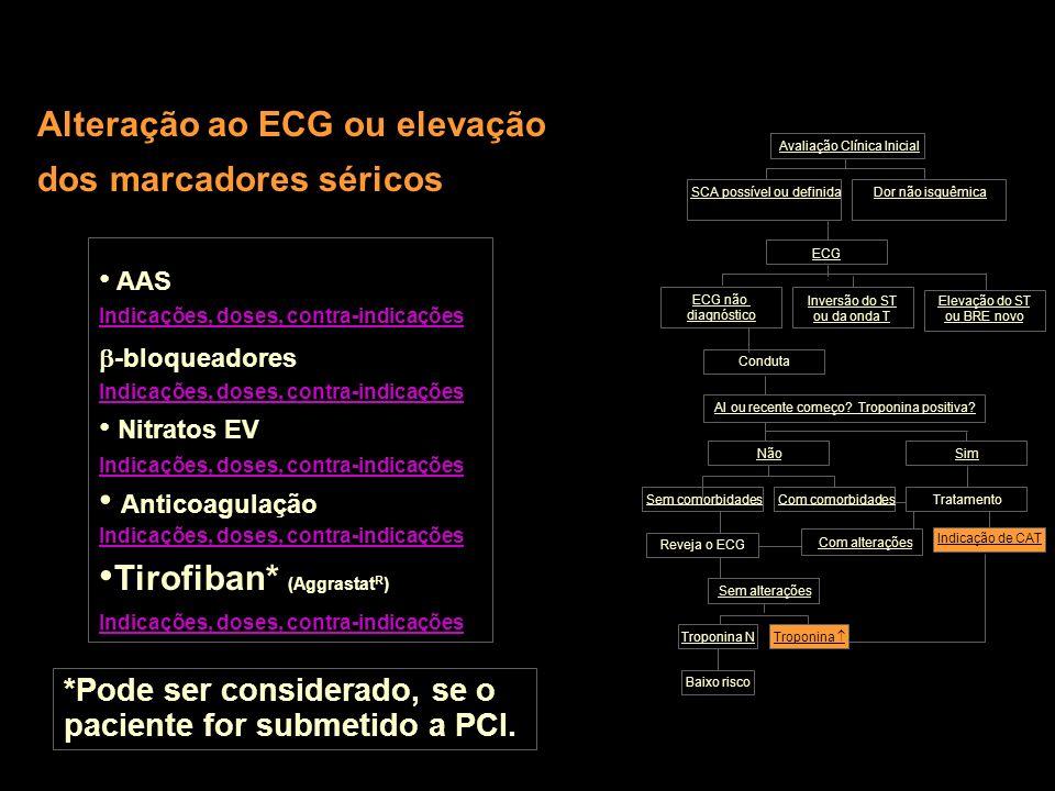 Alteração ao ECG ou elevação dos marcadores séricos