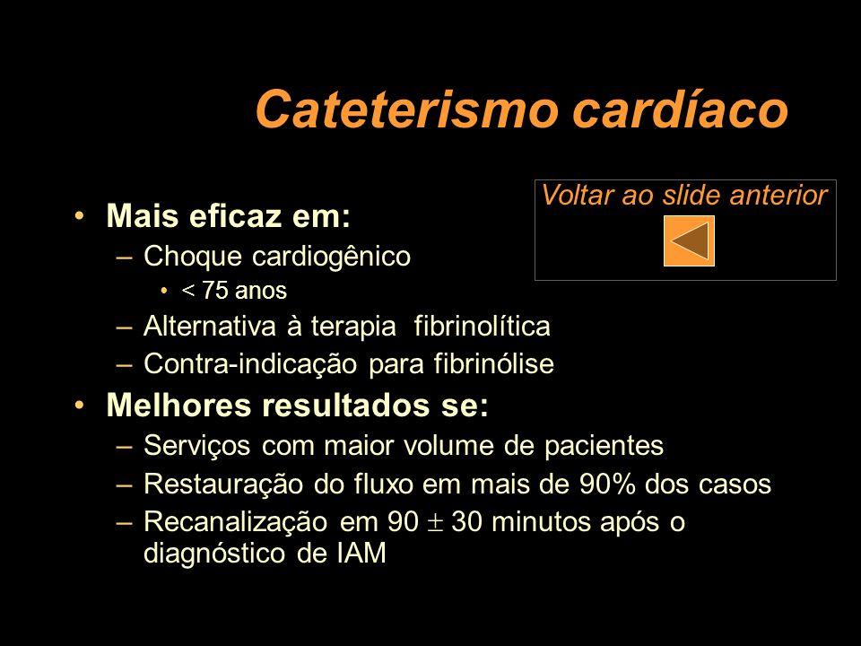 Cateterismo cardíaco Mais eficaz em: Melhores resultados se: