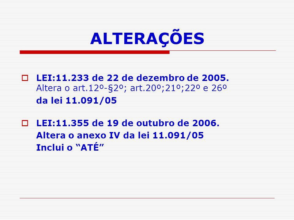ALTERAÇÕES LEI:11.233 de 22 de dezembro de 2005. Altera o art.12º-§2º; art.20º;21º;22º e 26º. da lei 11.091/05.