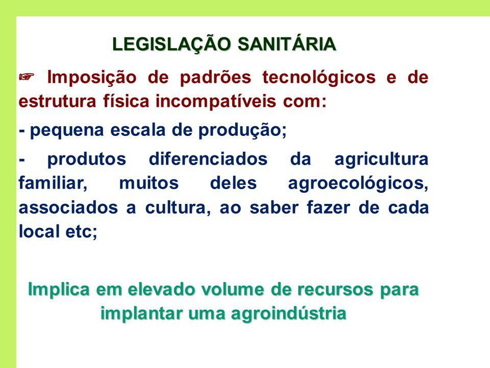 Implica em elevado volume de recursos para implantar uma agroindústria