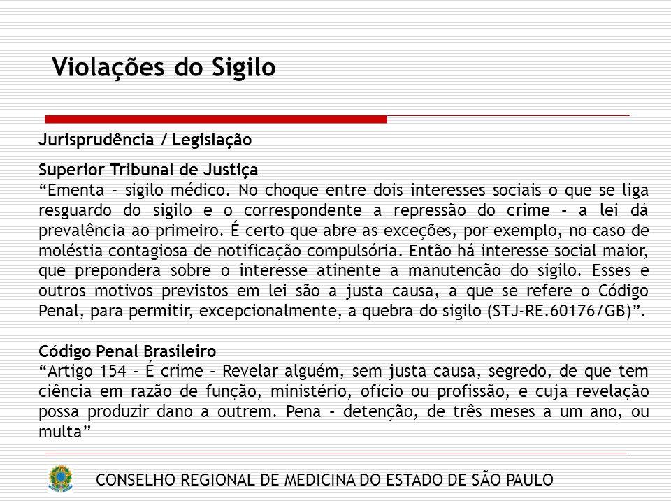 Violações do Sigilo Jurisprudência / Legislação
