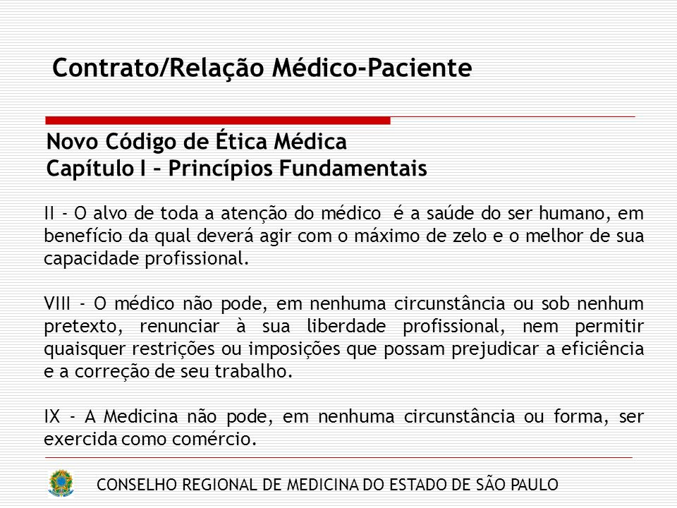 Contrato/Relação Médico-Paciente