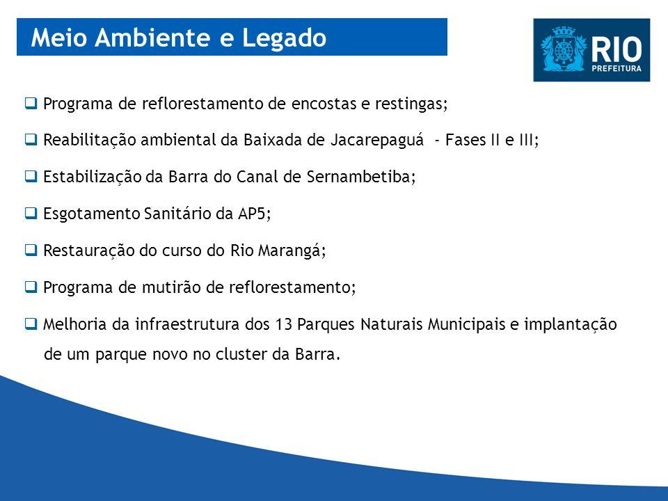 Meio Ambiente e Legado Programa de reflorestamento de encostas e restingas; Reabilitação ambiental da Baixada de Jacarepaguá - Fases II e III;