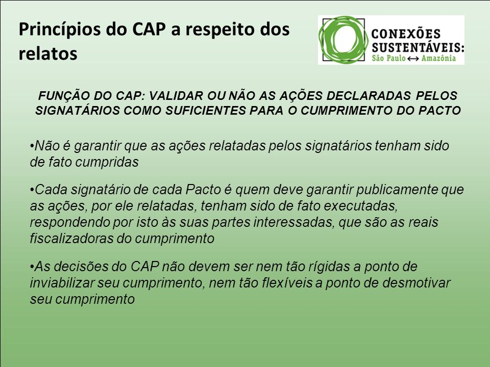 Princípios do CAP a respeito dos relatos