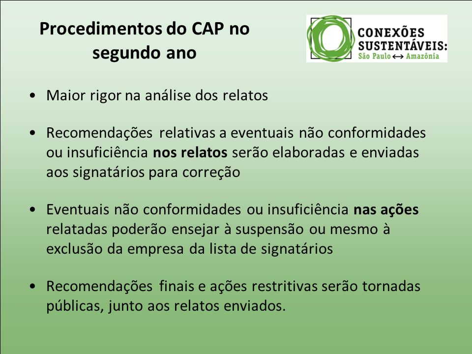 Procedimentos do CAP no segundo ano