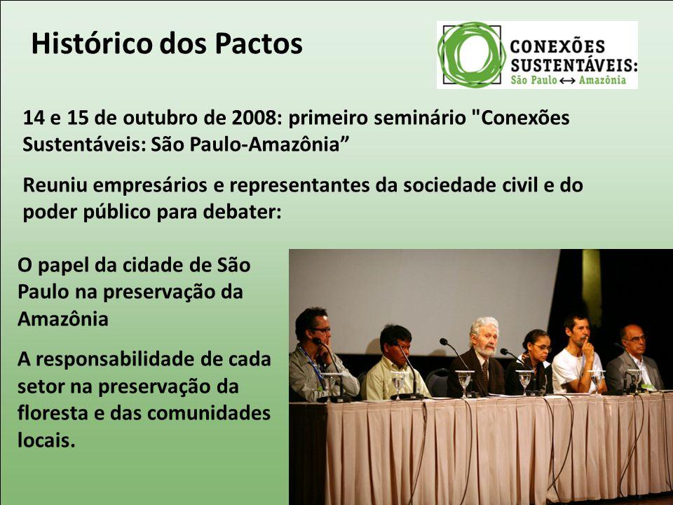 Histórico dos Pactos 14 e 15 de outubro de 2008: primeiro seminário Conexões Sustentáveis: São Paulo-Amazônia