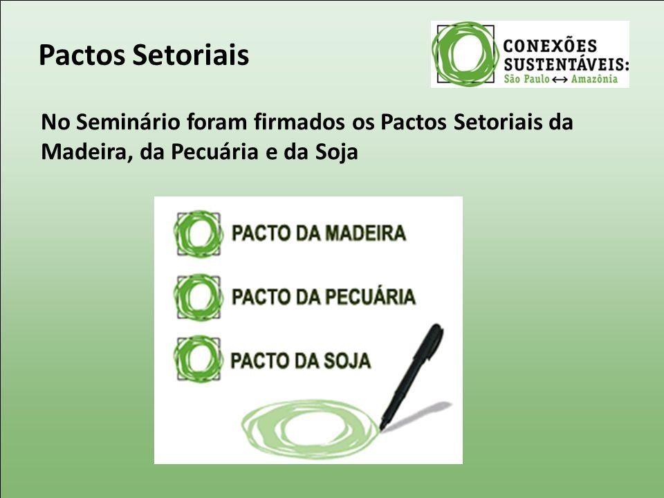 Pactos Setoriais No Seminário foram firmados os Pactos Setoriais da Madeira, da Pecuária e da Soja