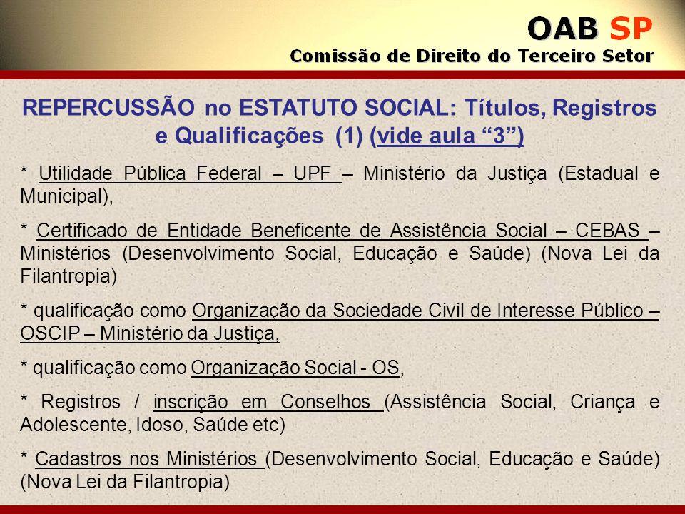 REPERCUSSÃO no ESTATUTO SOCIAL: Títulos, Registros e Qualificações (1) (vide aula 3 )