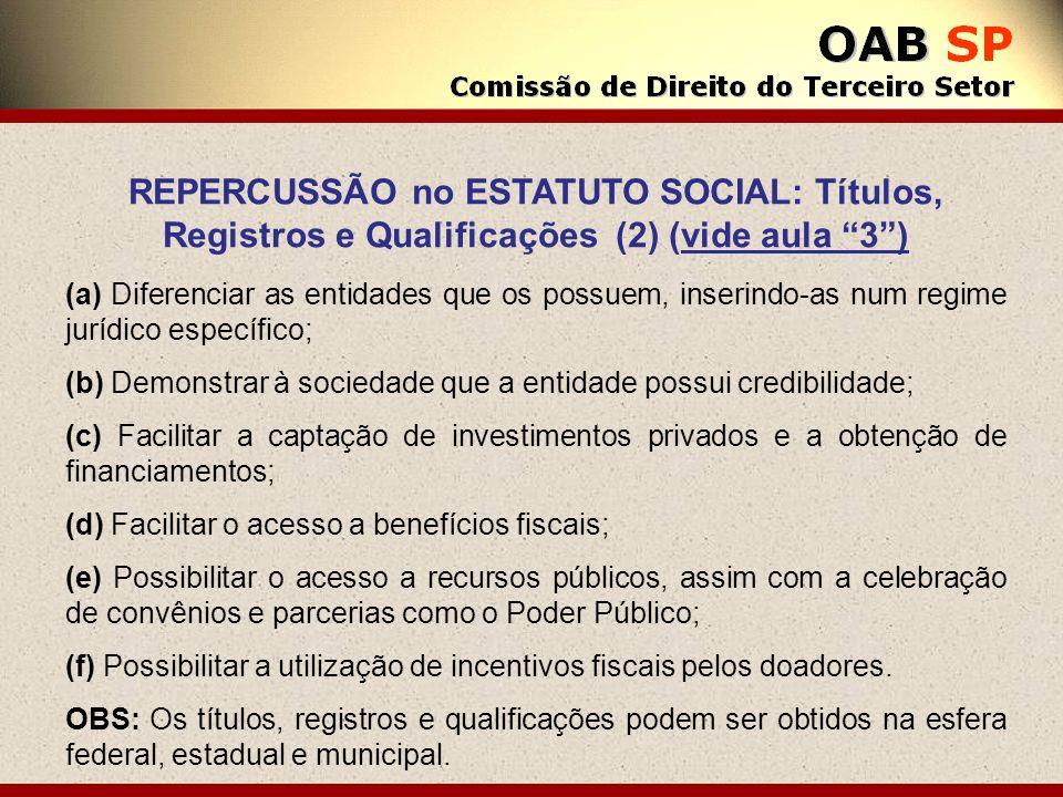 REPERCUSSÃO no ESTATUTO SOCIAL: Títulos, Registros e Qualificações (2) (vide aula 3 )
