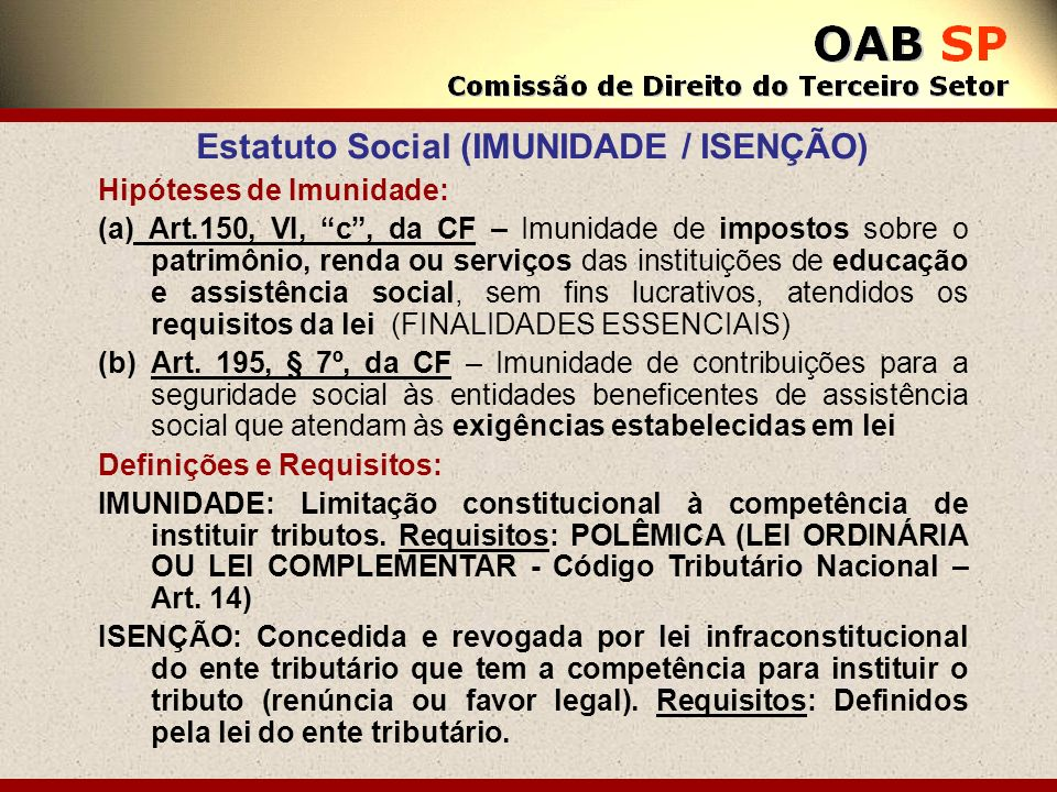 Estatuto Social (IMUNIDADE / ISENÇÃO)