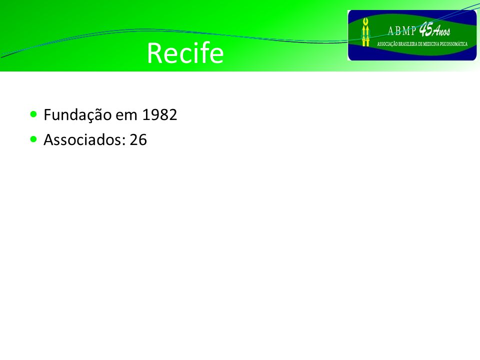 Recife Fundação em 1982 Associados: 26