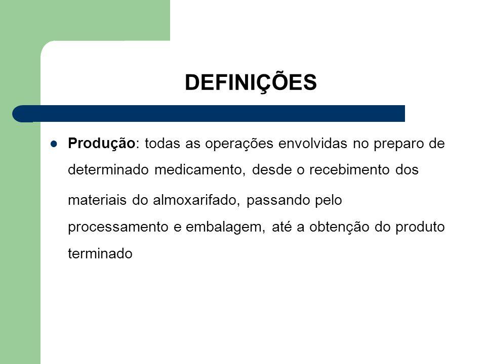 DEFINIÇÕES Produção: todas as operações envolvidas no preparo de determinado medicamento, desde o recebimento dos.