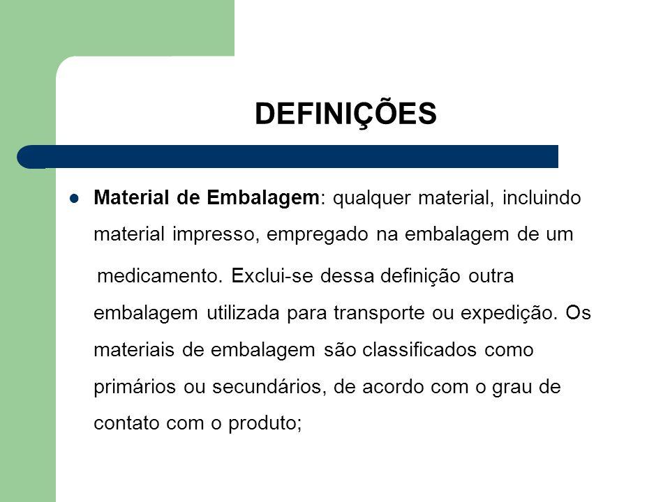 DEFINIÇÕES Material de Embalagem: qualquer material, incluindo material impresso, empregado na embalagem de um.