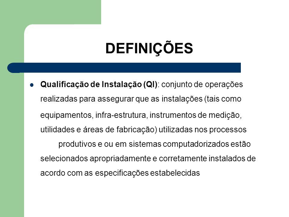DEFINIÇÕES Qualificação de Instalação (QI): conjunto de operações realizadas para assegurar que as instalações (tais como.