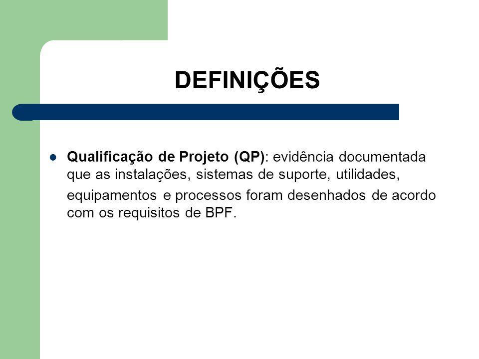 DEFINIÇÕES Qualificação de Projeto (QP): evidência documentada que as instalações, sistemas de suporte, utilidades,