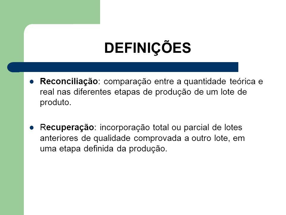 DEFINIÇÕES Reconciliação: comparação entre a quantidade teórica e real nas diferentes etapas de produção de um lote de produto.