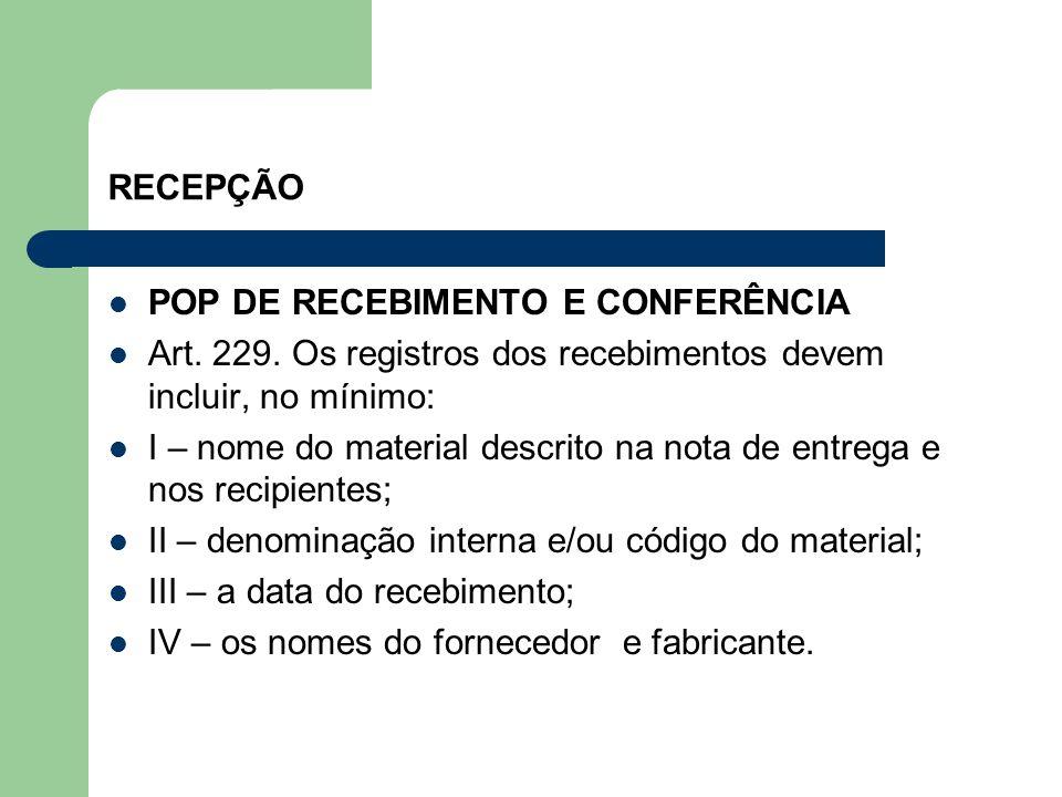 RECEPÇÃO POP DE RECEBIMENTO E CONFERÊNCIA. Art. 229. Os registros dos recebimentos devem incluir, no mínimo:
