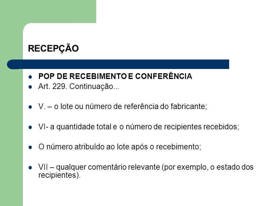 RECEPÇÃO POP DE RECEBIMENTO E CONFERÊNCIA Art. 229. Continuação...