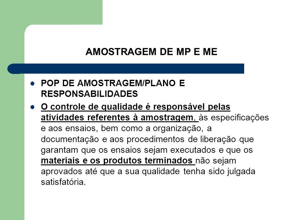AMOSTRAGEM DE MP E ME POP DE AMOSTRAGEM/PLANO E RESPONSABILIDADES