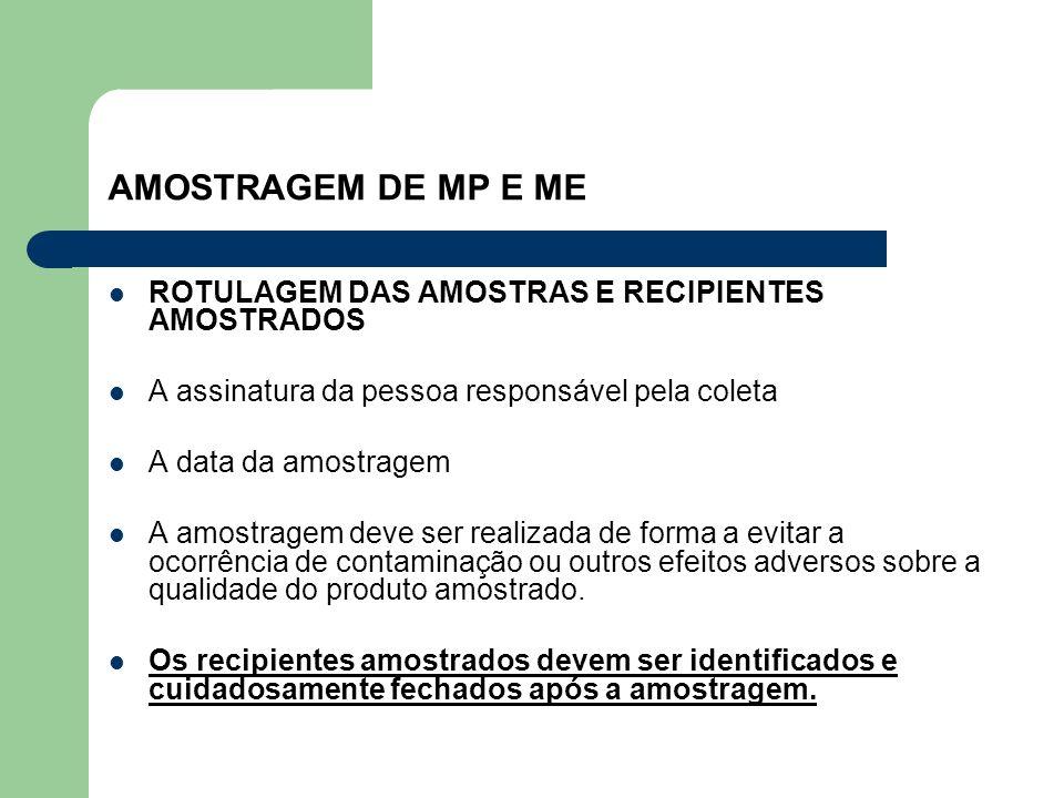 AMOSTRAGEM DE MP E ME ROTULAGEM DAS AMOSTRAS E RECIPIENTES AMOSTRADOS