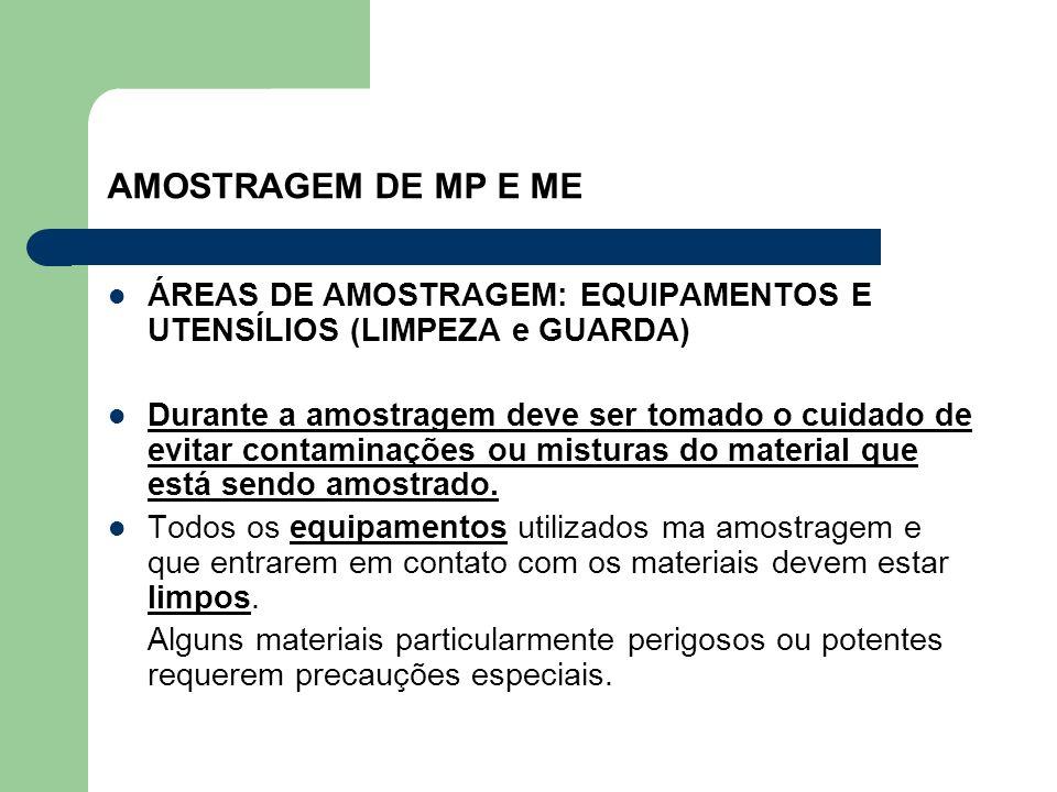 AMOSTRAGEM DE MP E ME ÁREAS DE AMOSTRAGEM: EQUIPAMENTOS E UTENSÍLIOS (LIMPEZA e GUARDA)