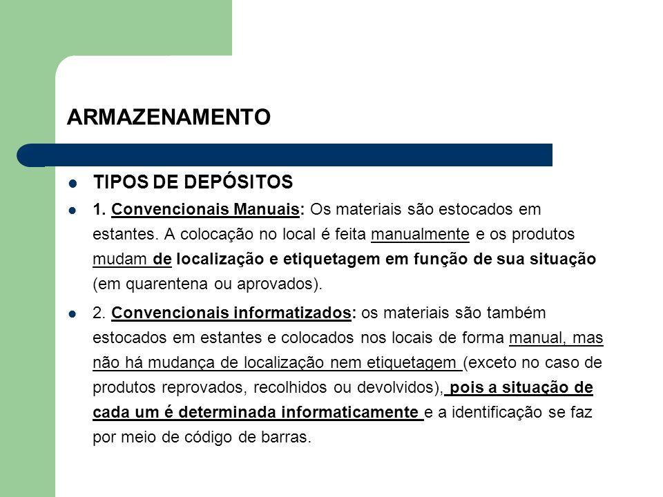 ARMAZENAMENTO TIPOS DE DEPÓSITOS