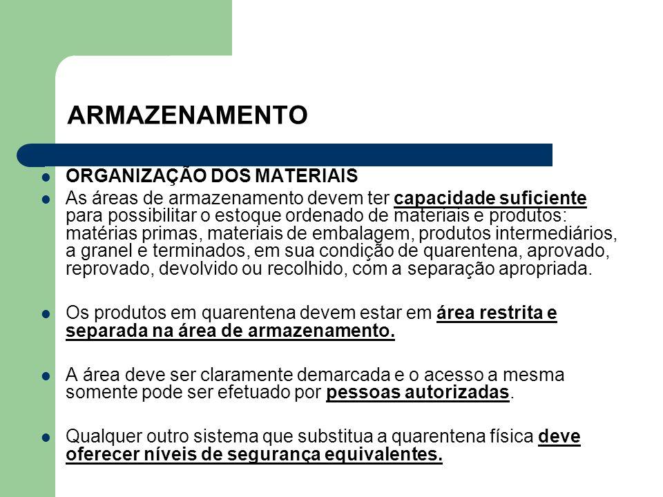 ARMAZENAMENTO ORGANIZAÇÃO DOS MATERIAIS