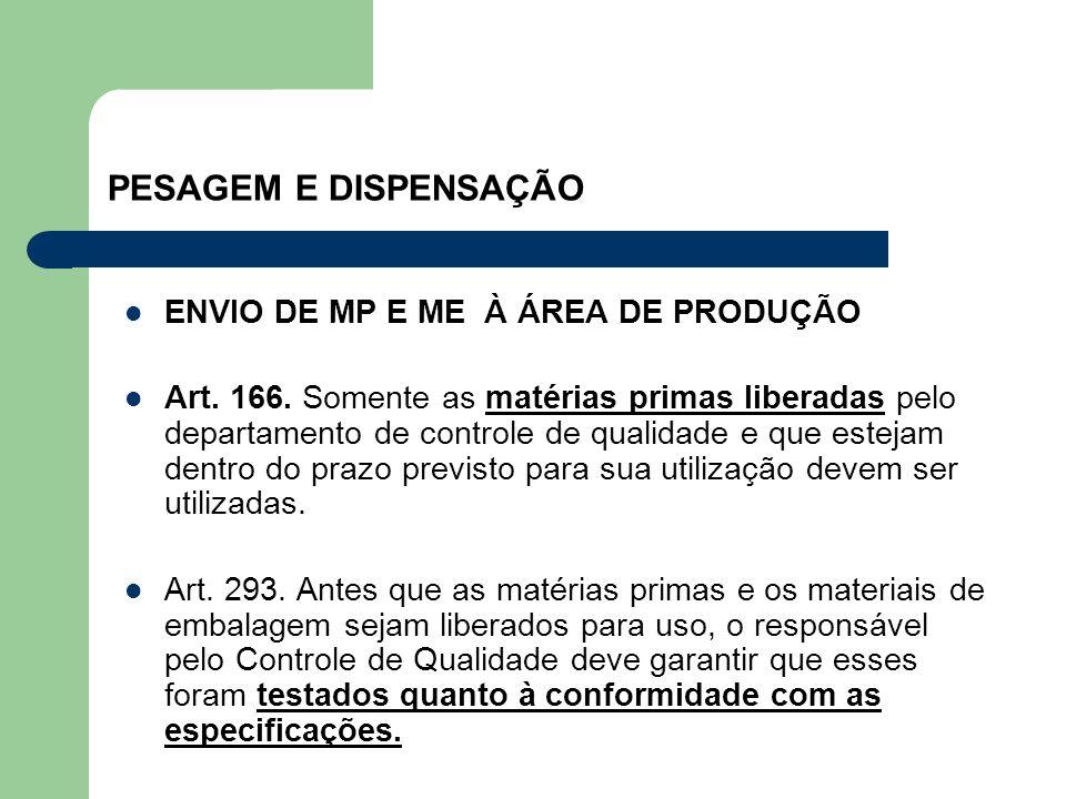 PESAGEM E DISPENSAÇÃO ENVIO DE MP E ME À ÁREA DE PRODUÇÃO