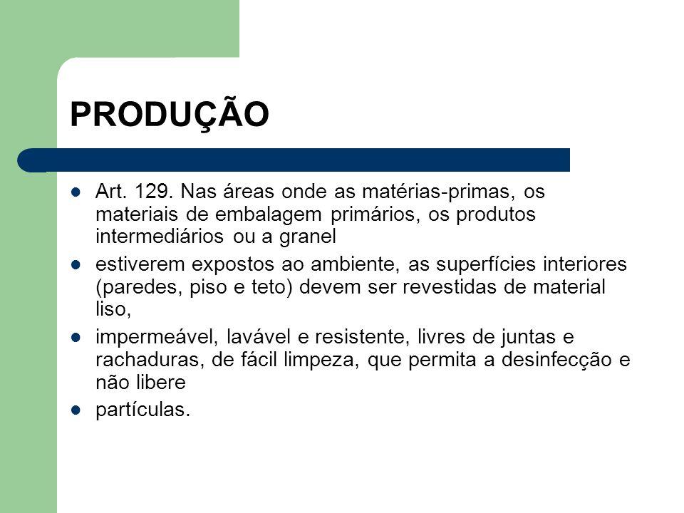 PRODUÇÃO Art. 129. Nas áreas onde as matérias-primas, os materiais de embalagem primários, os produtos intermediários ou a granel.