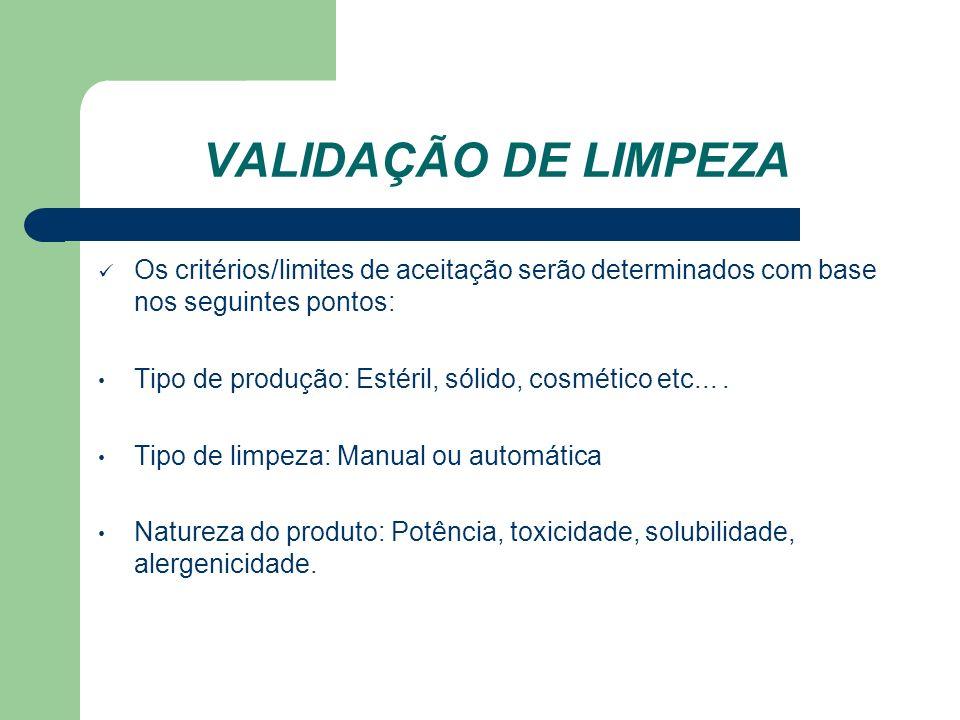 VALIDAÇÃO DE LIMPEZA Os critérios/limites de aceitação serão determinados com base nos seguintes pontos:
