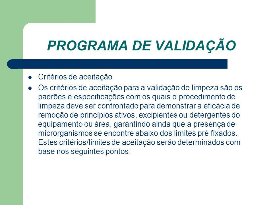 PROGRAMA DE VALIDAÇÃO Critérios de aceitação