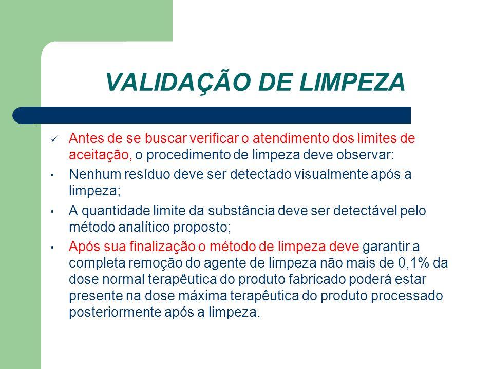 VALIDAÇÃO DE LIMPEZA Antes de se buscar verificar o atendimento dos limites de aceitação, o procedimento de limpeza deve observar: