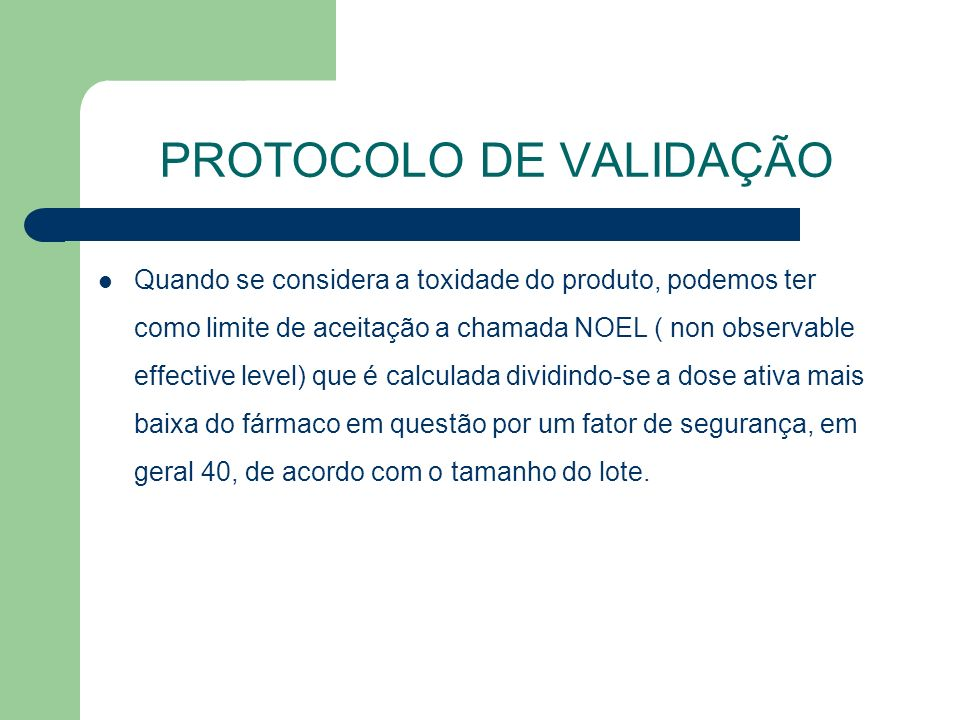 PROTOCOLO DE VALIDAÇÃO