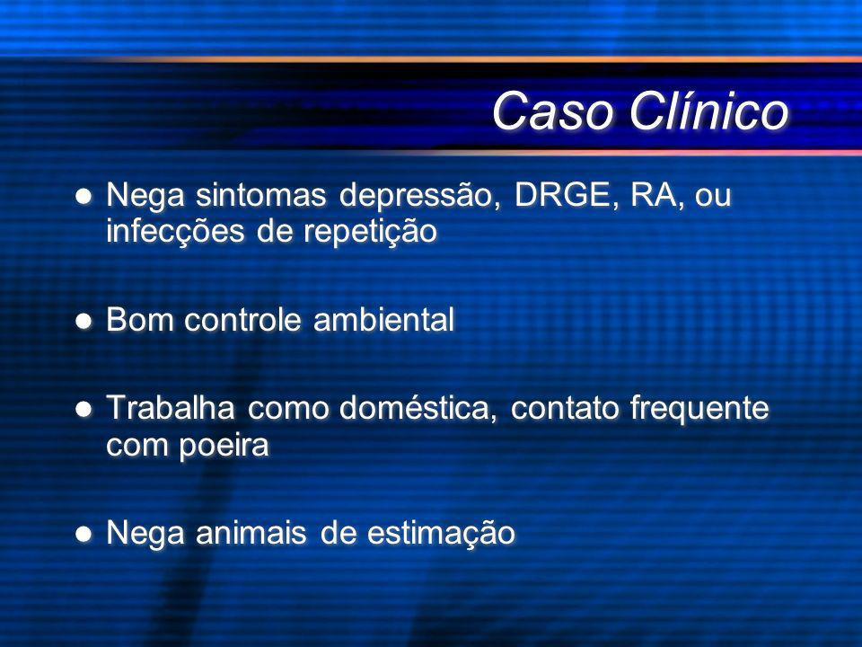Caso Clínico Nega sintomas depressão, DRGE, RA, ou infecções de repetição. Bom controle ambiental.