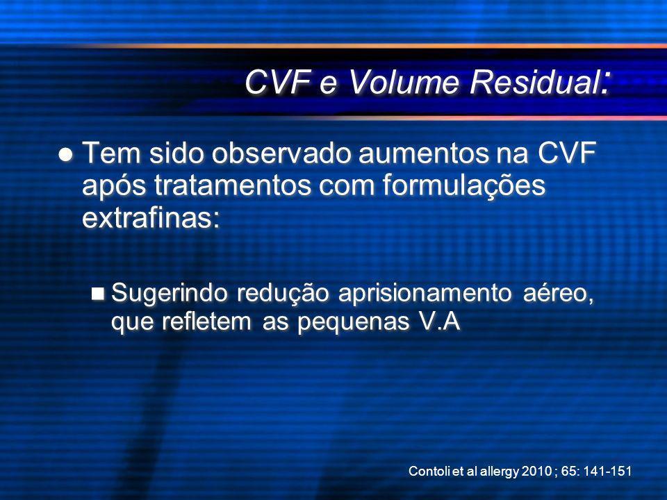 CVF e Volume Residual: Tem sido observado aumentos na CVF após tratamentos com formulações extrafinas: