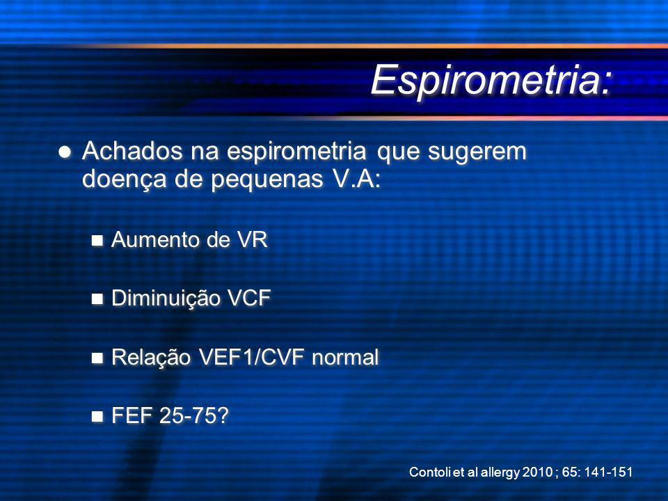 Espirometria: Achados na espirometria que sugerem doença de pequenas V.A: Aumento de VR. Diminuição VCF.