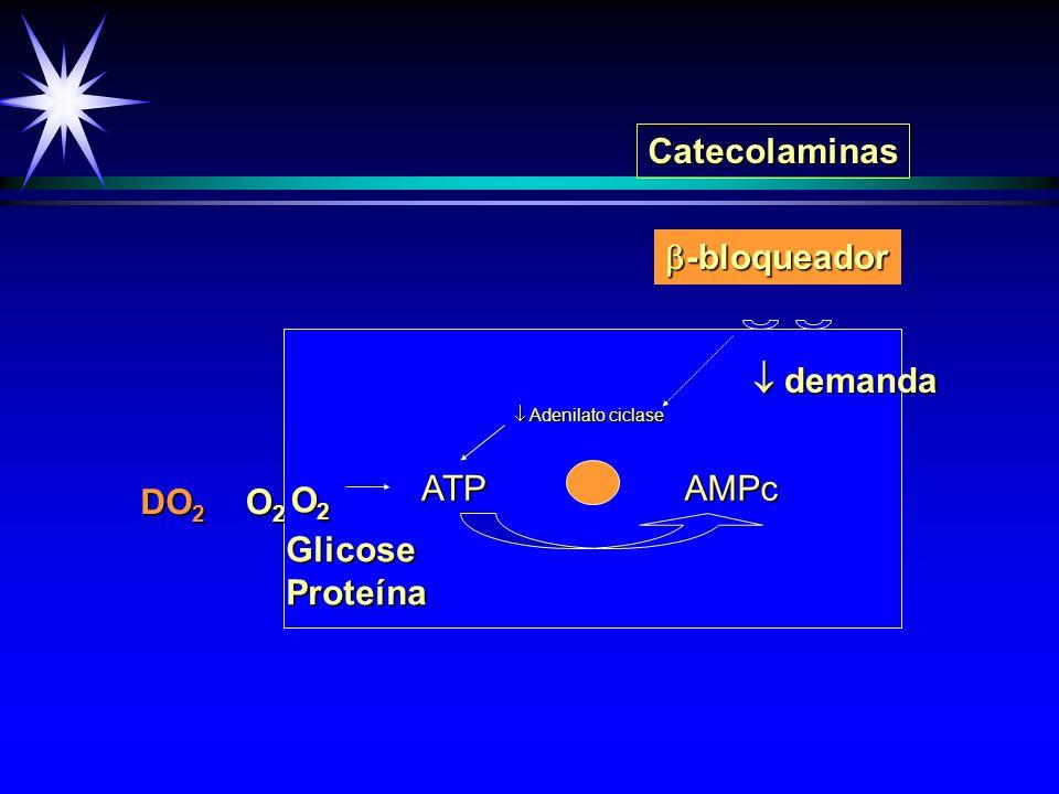 Catecolaminas -bloqueador  demanda DO2 O2 O2