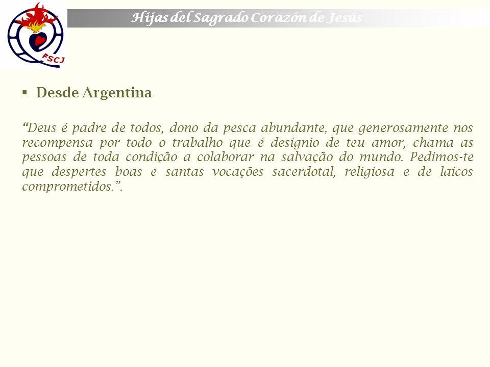 Desde Argentina Hijas del Sagrado Corazón de Jesús