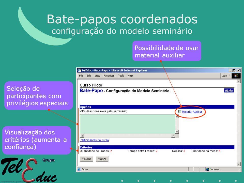 Bate-papos coordenados configuração do modelo seminário