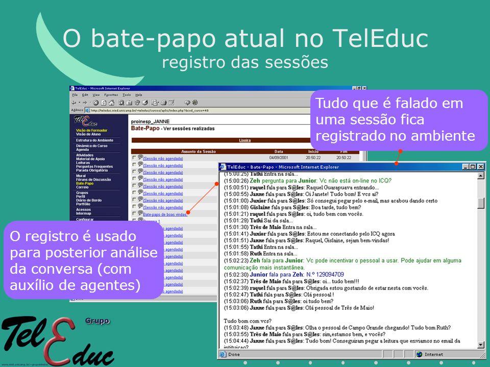 O bate-papo atual no TelEduc registro das sessões