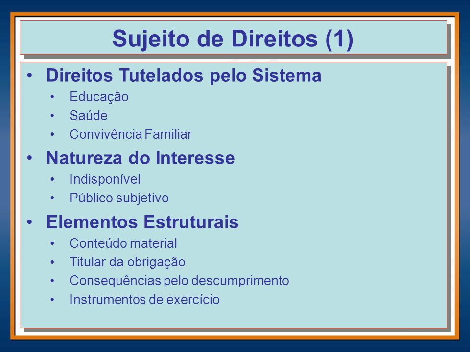 Sujeito de Direitos (1) Direitos Tutelados pelo Sistema