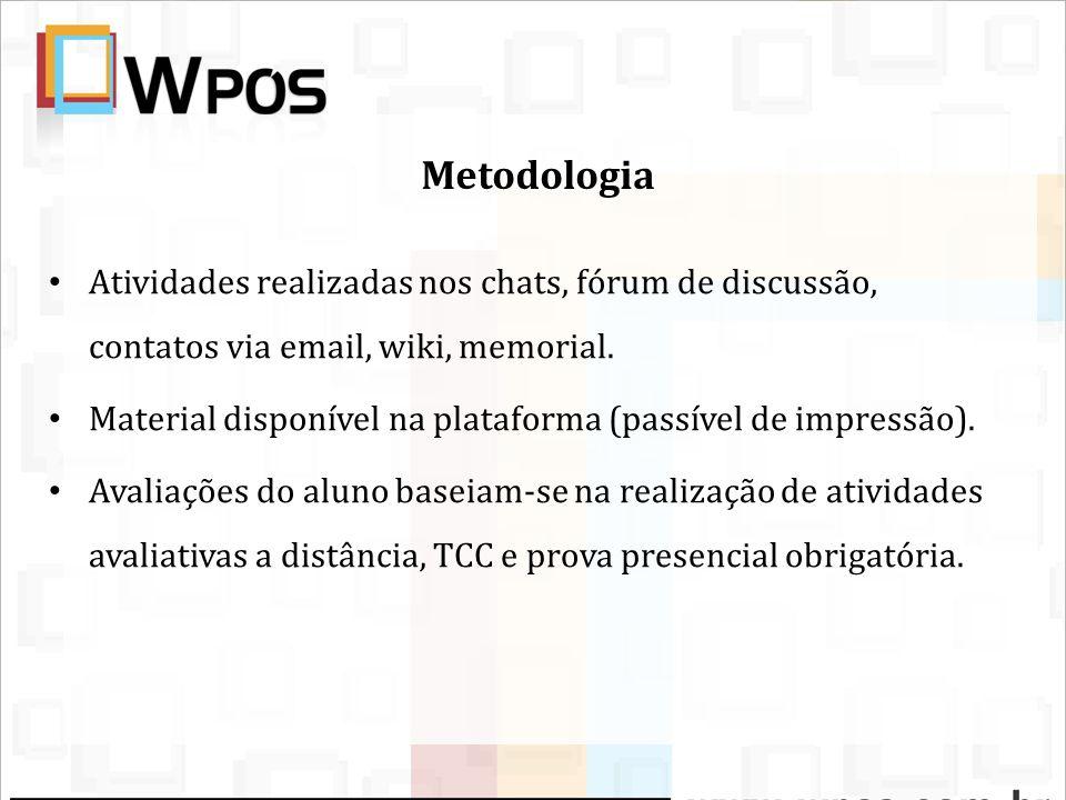 MetodologiaAtividades realizadas nos chats, fórum de discussão, contatos via email, wiki, memorial.
