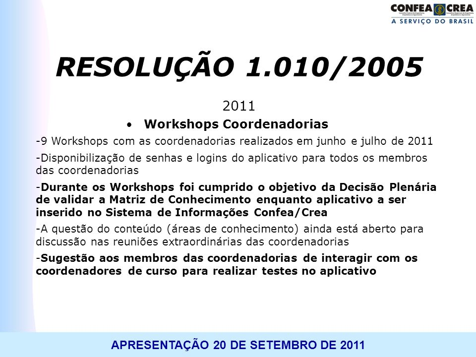 Workshops Coordenadorias