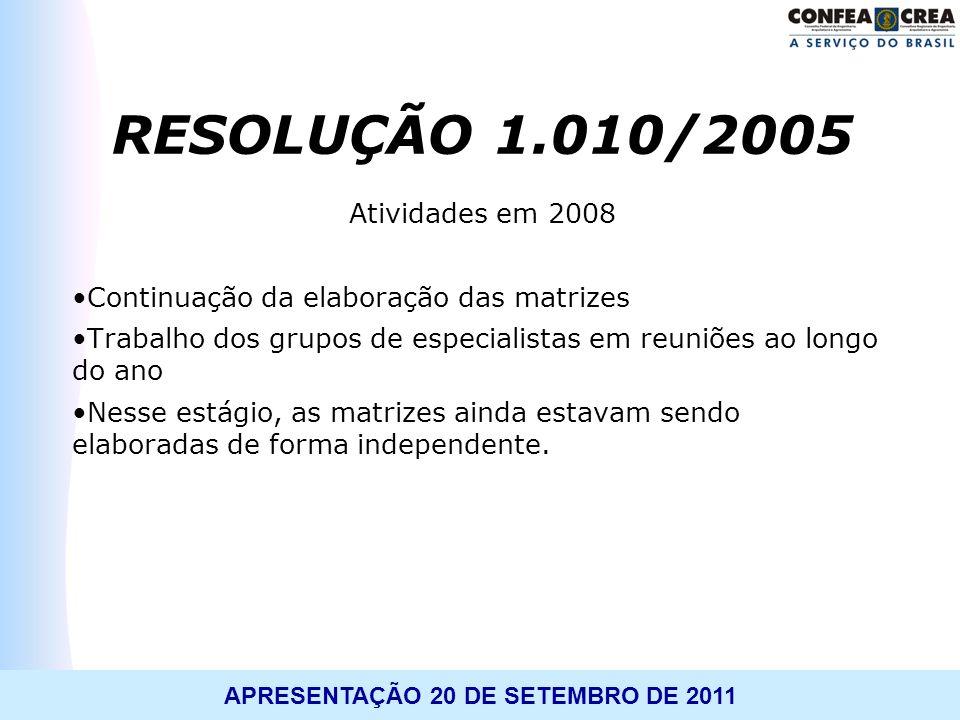 RESOLUÇÃO 1.010/2005 Atividades em 2008