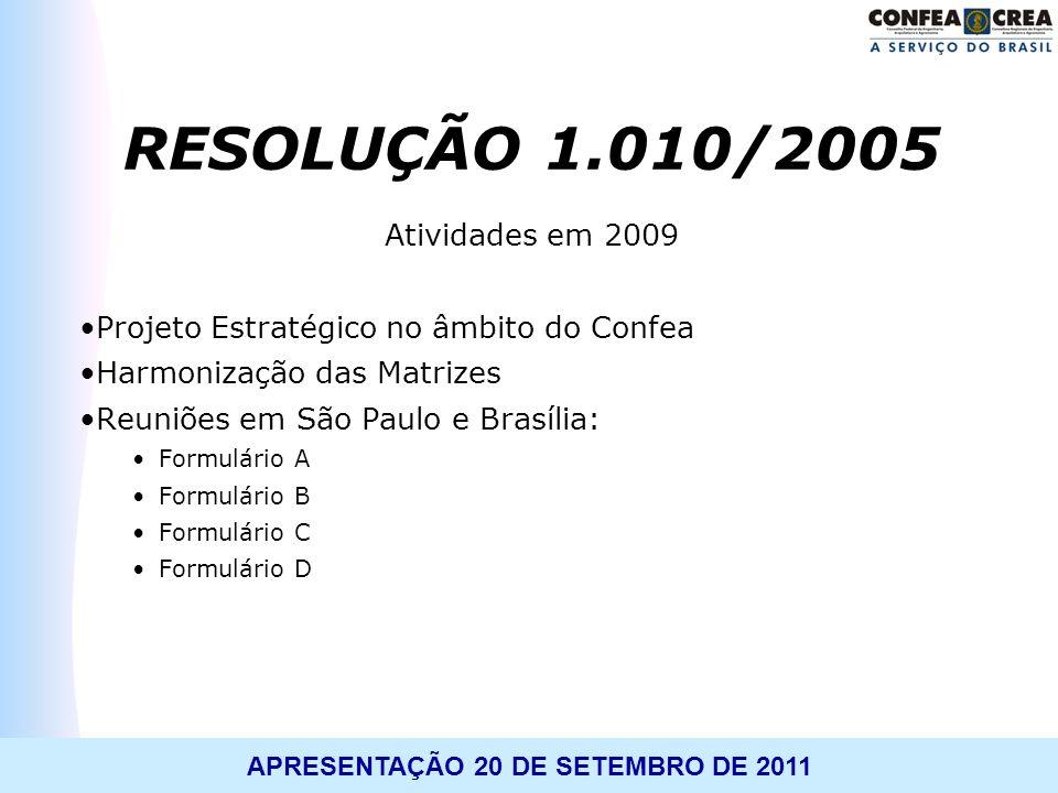 RESOLUÇÃO 1.010/2005 Atividades em 2009