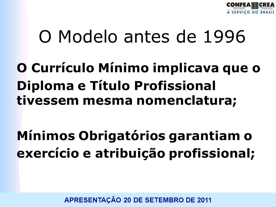 O Modelo antes de 1996