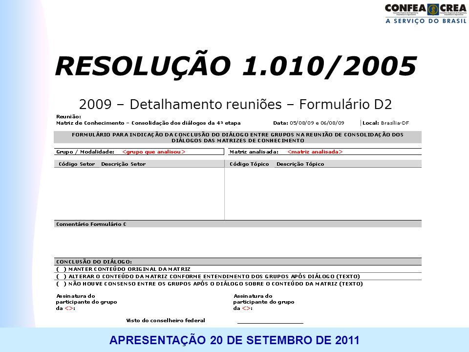 2009 – Detalhamento reuniões – Formulário D2
