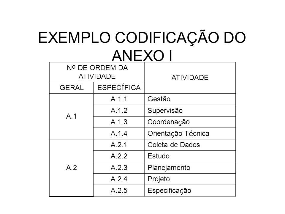 EXEMPLO CODIFICAÇÃO DO ANEXO I