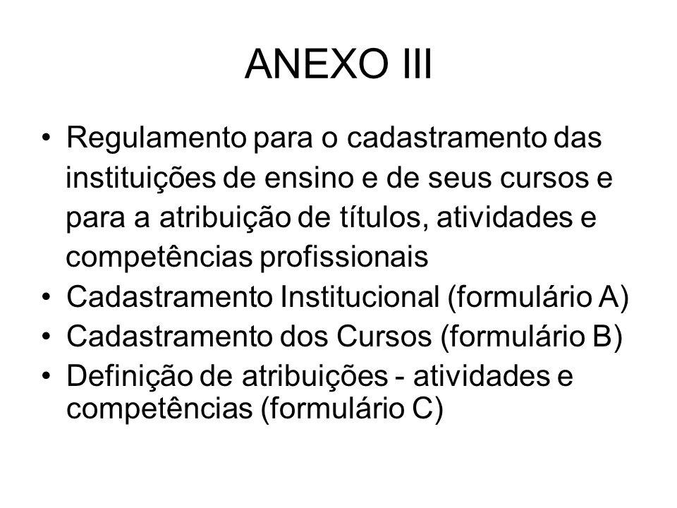 ANEXO III Regulamento para o cadastramento das