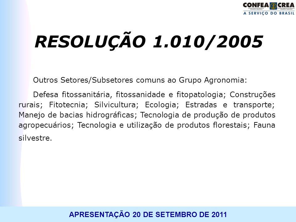 RESOLUÇÃO 1.010/2005 Outros Setores/Subsetores comuns ao Grupo Agronomia: